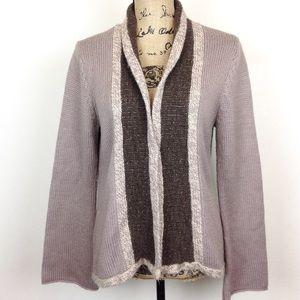 J Jill Tan Wool Blend Cardigan Sweater M - N0087